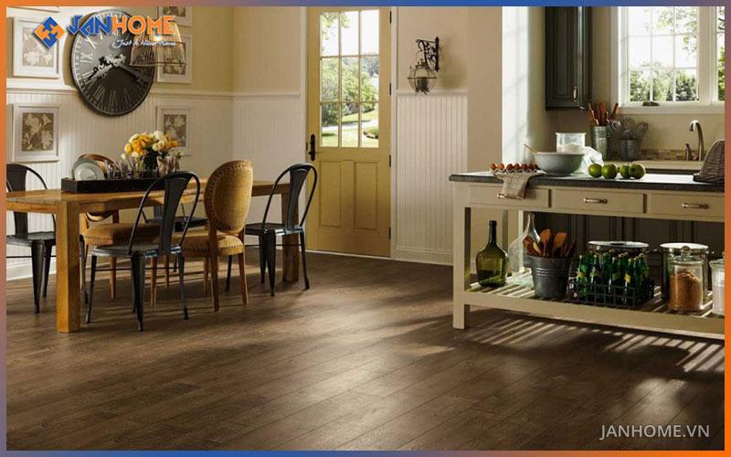 4 đặc tính nổi bật cần có của sàn gỗ công nghiệp cho phòng bếp
